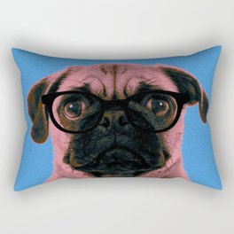 Geek Pug in Blue Background Rectangular Pillow