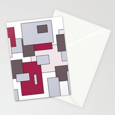 Squares - gray and purple. Stationery Cards