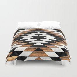 Urban Tribal Pattern 13 - Aztec - Concrete and Wood Duvet Cover