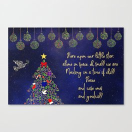 Blue and Gold Christmas Night Canvas Print