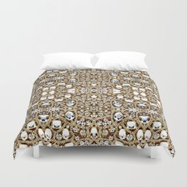 jewelry gemstone silver champagne gold crystal Duvet Cover