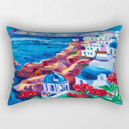 Santorini churches Rectangular Pillow