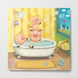 Piggy Bubble Bath Metal Print