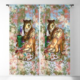 Female wood elf druid with a tiger for dnd fans Blackout Curtain