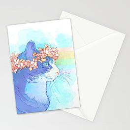 Cat with Flower Crown Stationery Cards