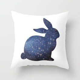 Space Easter Bunny - Bright Stars Throw Pillow