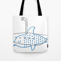 submarine Tote Bags featuring Submarine by Ena Jurov