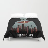 stark Duvet Covers featuring Tony Stark by offbeatzombie