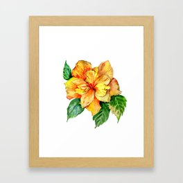 Yellow Summer Hibiscus Blossom Framed Art Print