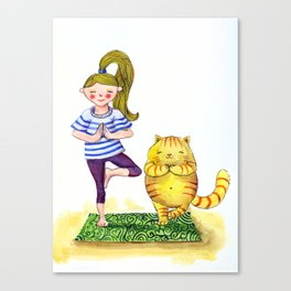 Friends Hold Tree-Pose Together Canvas Print