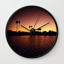 Mission Bay Belmont Park Sunset Wall Clock
