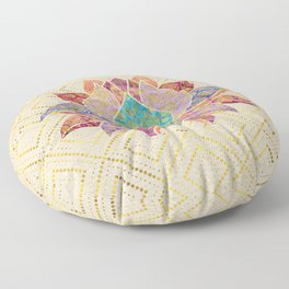 Watercolor & Gold paisley decorated lotus Floor Pillow