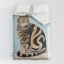 Cat sitting on window sill Comforters