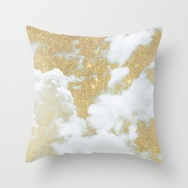 Abstract white faux gold glitter clouds pattern Throw Pillow