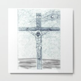 Frances Biblical Christ Crucified Metal Print