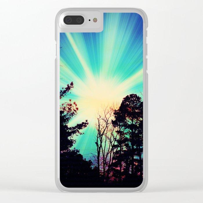 Black Trees Hopeful SKY Clear iPhone Case