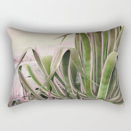Agave in the Garden on Pastel Coral Rectangular Pillow