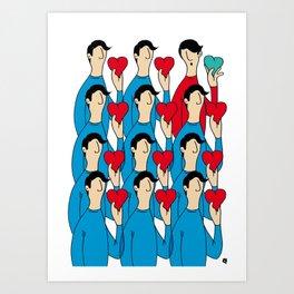 different heart Art Print