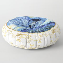 Mary Poppins Starry Night - Golden Floral Frame Floor Pillow