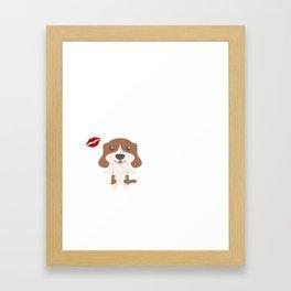 I Kissed A Beagle And I Liked It Cute Dog Kiss Gift Idea Framed Art Print