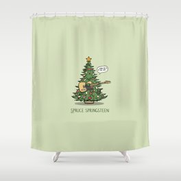 Spruce Springsteen - Funny Christmas Music Cartoon Pun Shower Curtain
