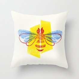 Be Safe - Save Bees linocut Throw Pillow