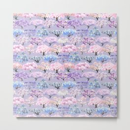 Large spring seamless pattern of flowering sakura and wisteria trees on a lilac background Metal Print