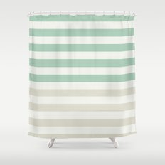 Mint, Pale and White Stripes Shower Curtain