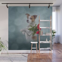 Jack Russell Terrier dog holds a bouquet of flowers Wall Mural