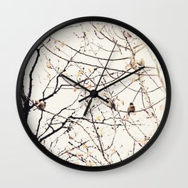 House Sparrows in Tree Branches Stylized Minimalist Nature Wall Clock