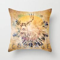courage Throw Pillows featuring Courage by Jessica Lewis Designs