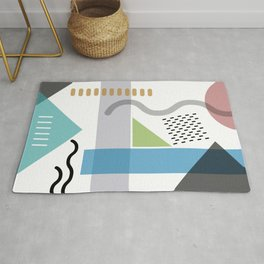 Geometric abstract art, pastel tones shapes and dots print Rug