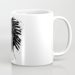 Indian with Headdress Black and White Silhouette Coffee Mug