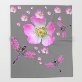 ROSE DRAGONFLIES & WILD PINK ROSES Throw Blanket
