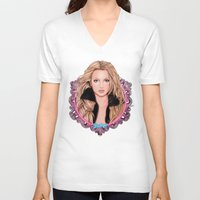 britney V-neck T-shirts featuring Britney Spears by Will Costa
