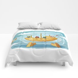 AIRSHIP IN A BOTTLE Comforters