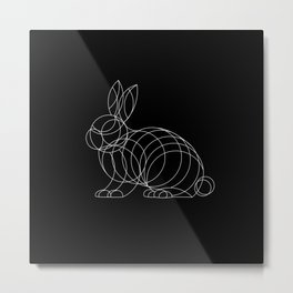 Geo Bunny - White Ink on Black Metal Print