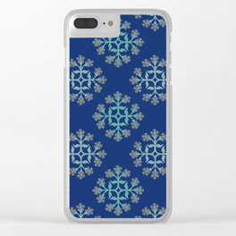 Grey, Teal and Navy Repeating Tile Digital Design Clear iPhone Case