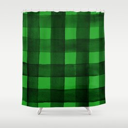 Buffalo Plaid Watercolor in Green Shower Curtain