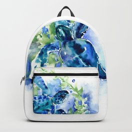 Sea Turtle Turquoise Blue Beach Underwater Scene Green Blue design Backpack