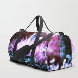 Forest from the other planet alien electric colors purple trees indigo Duffle Bag
