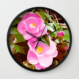 Graphic Pink Climbing Roses Wall Clock