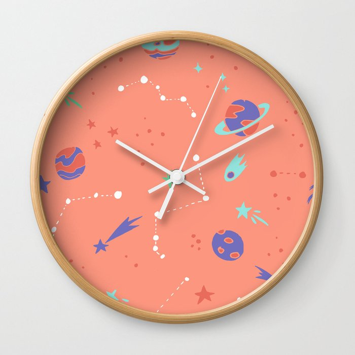 Outer Space In Coral Wall Clock By Latheandquill Society6