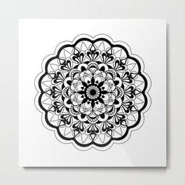 black&white mandala with flower Metal Print