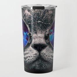 Galaxy Hipster Cat Travel Mug