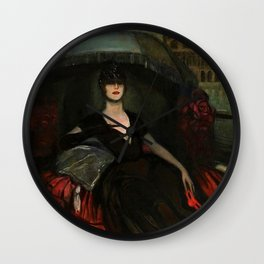 The Masquerade, Carnival, Venice, Italy portrait by Federico Beltran Masses Wall Clock