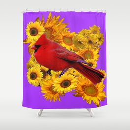 RED CARDINAL & YELLOW SUNFLOWERS PANTENE PURPLE Shower Curtain