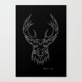 Stags head in one continuous line Canvas Print