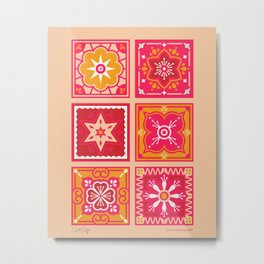 Talavera Mexican Tile – Hot Pink & Orange Palette Metal Print