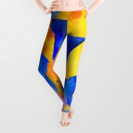 GOLDEN FULL MOON BLUE CALLA LILIES BLUE ART Leggings